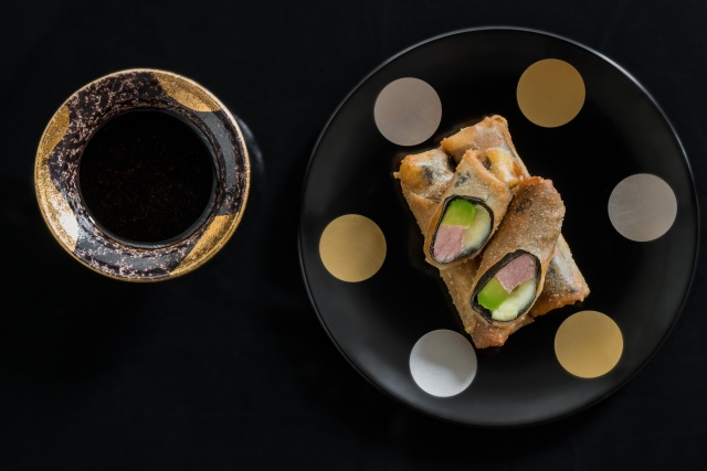 Slice the rolls in half at an angle and serve while hot with the wasabi balsamic dipping sauce.