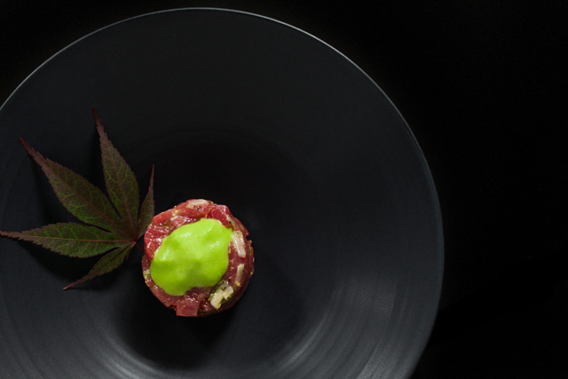 op the tartare with the wasabi espuma and serve