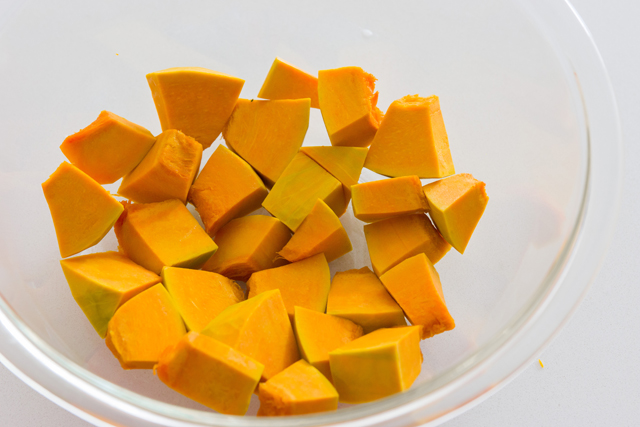 cut kabocha into 1/2inch thick pieces