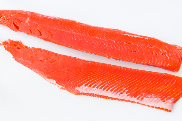 slice the side of salmon in half lengthwise