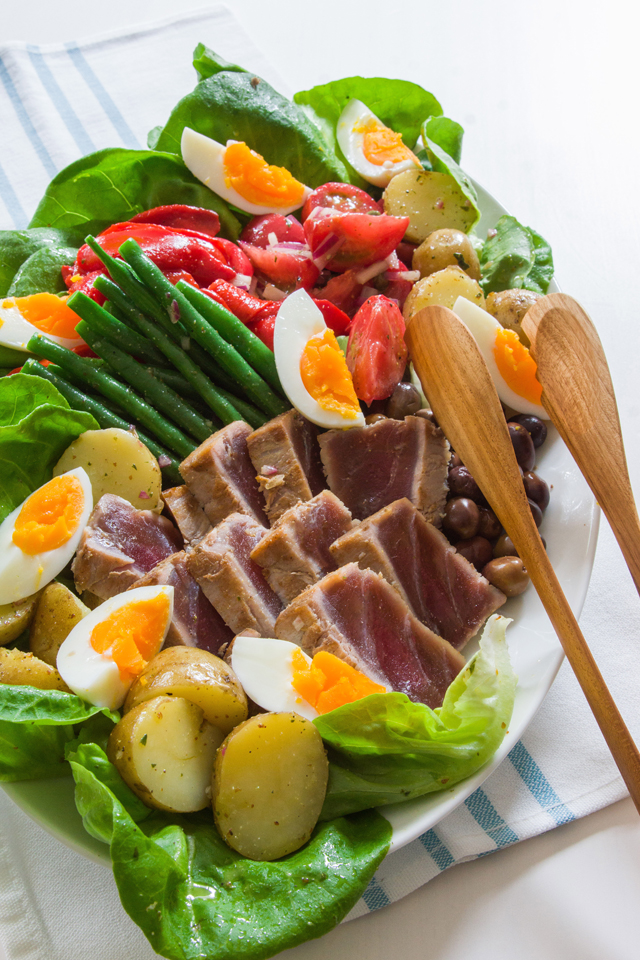 Niçoise Salad with Seared Anchovy Cured Yellowfin Tuna. #french #salad #food #foodporn #LuxeGourmets #recipe