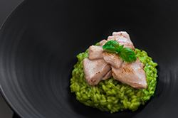 Aburi Ōtoro on Basil Risotto Recipe