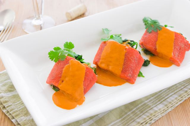 Slow Roasted Sockeye Salmon with Red Curry Sauce
